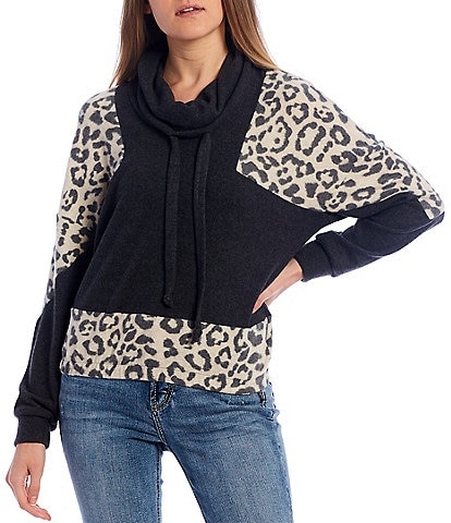Moa Moa Cheetah Print Colorblock Sleeve Cowl Neck Pullover