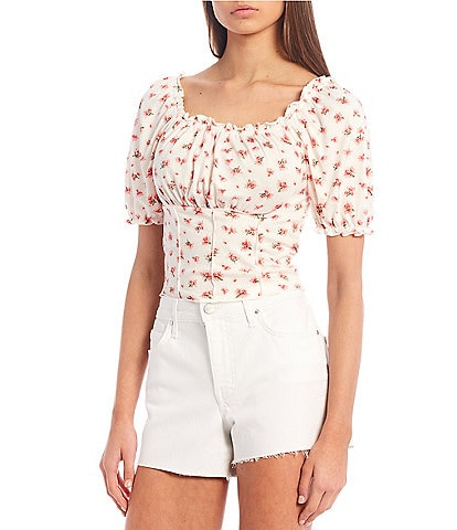 Moa Moa Floral Print Knit Seamed Puff Sleeve Peasant Top