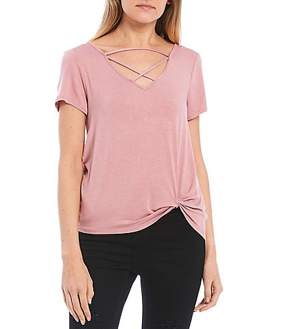 Moa Moa Lattice Front Short Sleeve Side Twist Tee