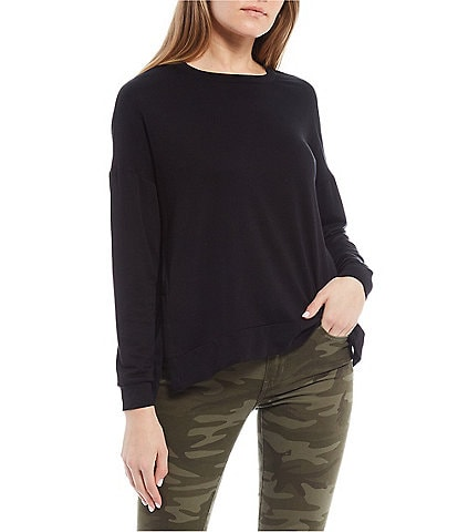 Moa Moa Long-Sleeve Side-Slit Knit Sweatshirt