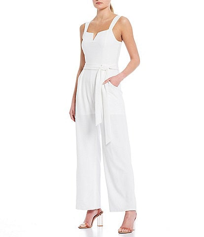 Moa Moa Notch Front Sleeveless Wide Leg Jumpsuit