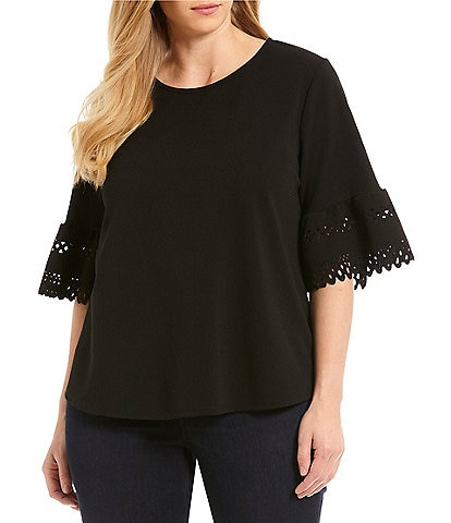 Moa Moa Plus Size 3/4 Bell Sleeve Top