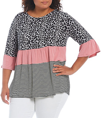 Moa Moa Plus Size Animal Stripe Print Color Block Tier Knit Round Neck 3/4 Bell Sleeve Top