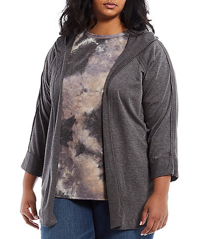 Moa Moa Plus Size Baby French Terry Long Sleeve Open-Front Hoodie Cardigan