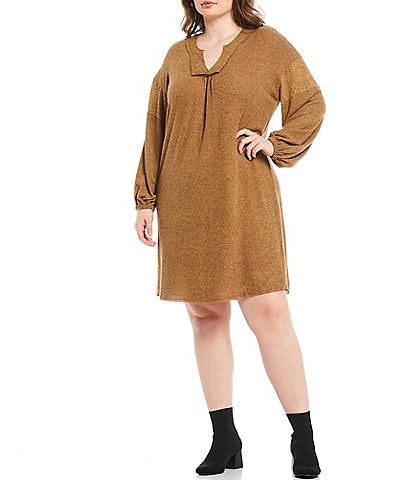 Moa Moa Plus Size Brushed Rib Notch V-Neck Long Sleeve Dress