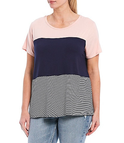 Moa Moa Plus Size Colorblock Crew Neck Short Sleeve Tee