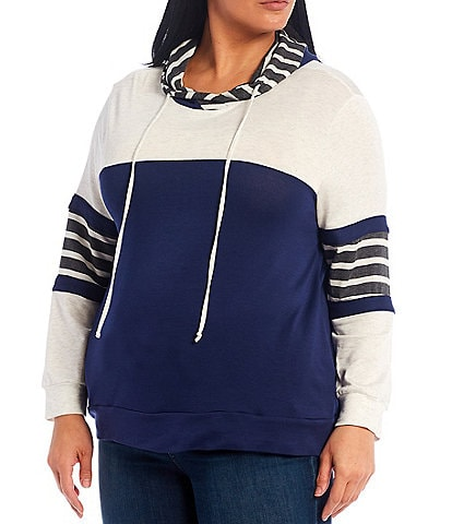 Moa Moa Plus Size Colorblock Stripe Print Hoodie