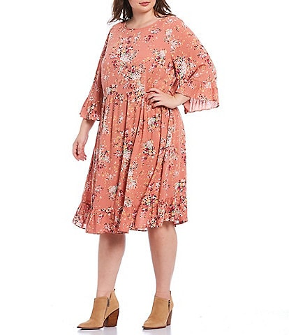 Moa Moa Plus Size Floral Print 3/4 Sleeve Ruffle Trim Rayon Dress