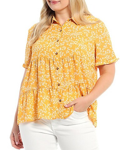 Moa Moa Plus Size Floral Print Point Collar Short Ruffle Sleeve Tiered Button Down Shirt