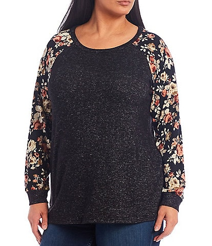 Moa Moa Plus Size Floral-Sleeve Crew Neck Knit Top