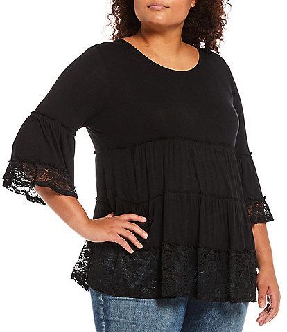 Moa Moa Plus Size Jewel Neck 3/4 Flare Sleeve Lace Hem Tier Top
