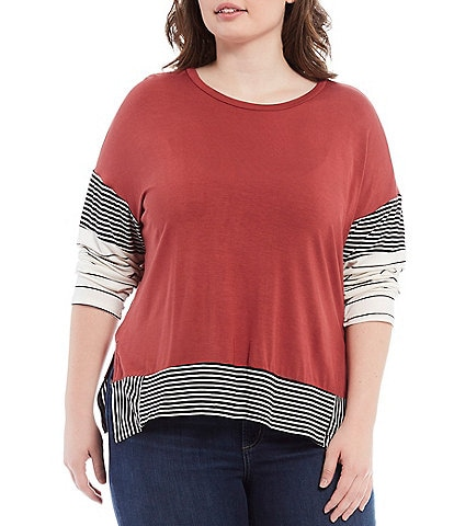 Moa Moa Plus Size Solid and Stripe Dolman Sleeve Crew Neck Knit Top
