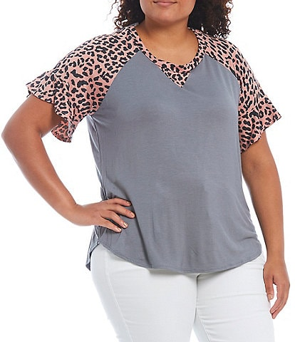 Moa Moa Plus Size Solid Jewel Neck Animal Contrast Short Sleeve Knit Top
