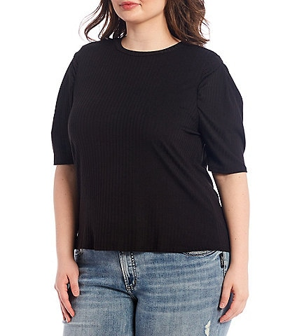 Moa Moa Plus Size Solid Crew Neck Puff Short Sleeve Knit Top