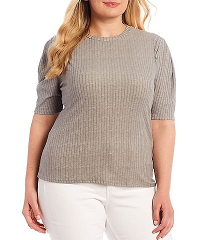 Moa Moa Plus Size Solid Crew Neck Puff Sleeve Knit Top