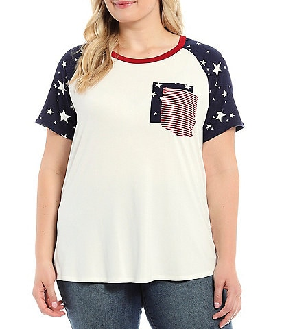 Moa Moa Plus Size Star Print Solid Color Block Double Contrast Pocket Top