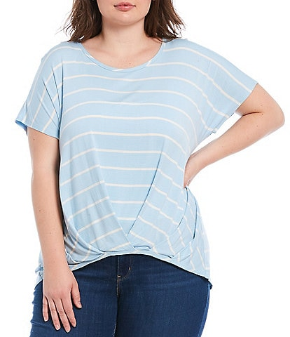 Moa Moa Plus Size Stripe Short Sleeve Overlap Hem Scoop Neck Top
