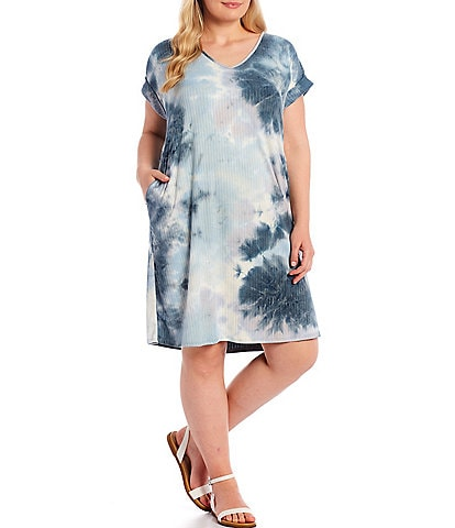 Moa Moa Plus Size Tie Dye V-Neck Dolman Sleeve Dress