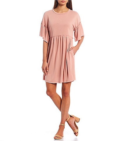 Moa Moa Ruffled Sleeve Babydoll Dress