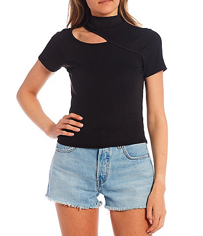 Moa Moa Shoulder Cut Out Short Sleeve Ribbed Knit Top