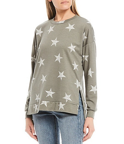 Moa Moa Star Print Long Sleeves Side Slit Star Print Tunic Top
