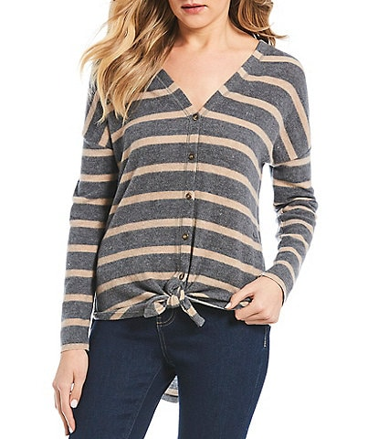 Moa Moa Stripe Button-Tie Front Top
