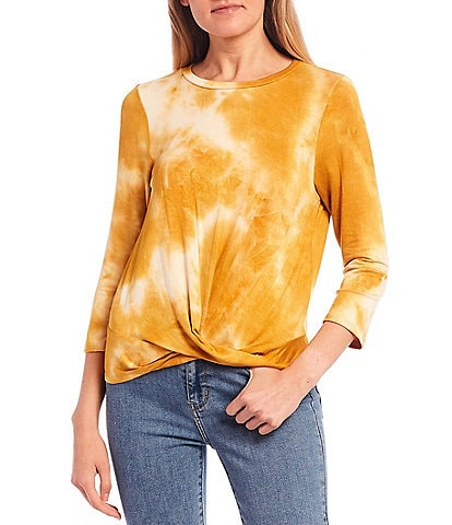 Moa Moa Tie-Dye Hacci Twist Front Long Sleeve Top