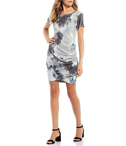 Moa Moa Tie Dye Side Ruched Ribbed Knit Dress