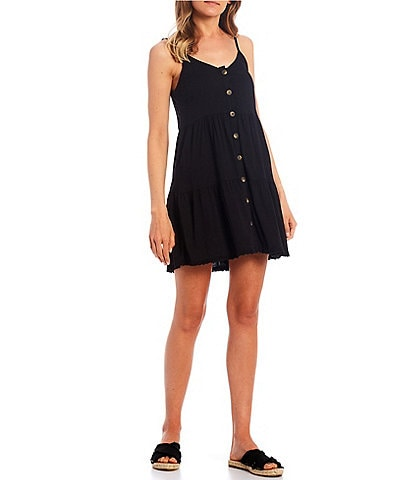 Moa Moa Tiered Button Front Tank Dress