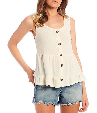 Moa Moa Tiered Button Front Tank Top