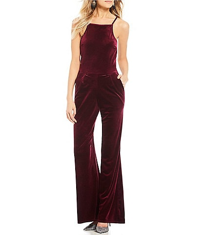 Moa Moa Velvet High Neck Sleeveless Jumpsuit