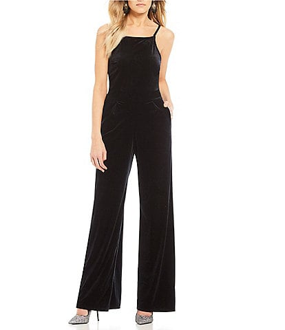 Moa Moa Velvet High Neck Sleeveless Wide Leg Jumpsuit