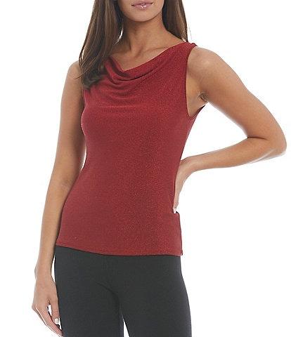 Modern Movement Lurex Sparkle Cowl Neck Flat Knit Tank