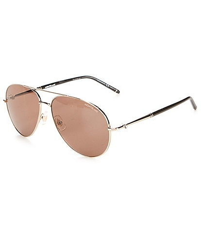 Montblanc Men's Aviator Light Brown Lens Metal Frame Sunglasses