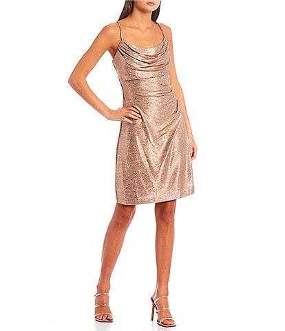Morgan & Co. Cowl-Neck Slim-Fitting Shimmer Sheath Dress