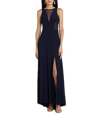 Morgan & Co. Power Mesh Deep V Inset Neck Slit Hem Long Dress