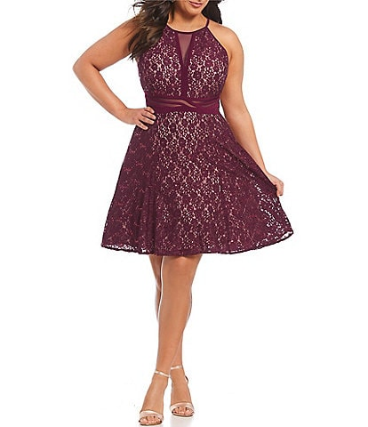 Morgan & Co. Plus Mesh Inset Lace Fit-And-Flare Dress