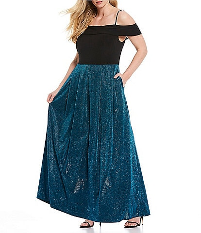 Morgan & Co. Plus Off-the-Shoulder Cap-Sleeve Shimmer Metallic Long Dress