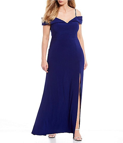 Morgan & Co. Plus Off-the-Shoulder Portrait Neck Side Slit ITY Long Dress