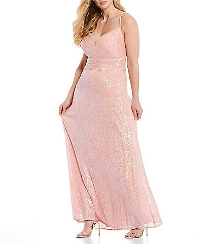 Morgan & Co. Plus Spaghetti Strap Plunging V-Neck Sequin Long Dress
