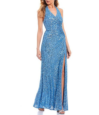 Morgan & Co. Sleeveless Halter-Neck Side Slit Sequin Long Dress