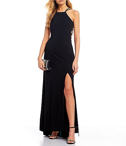 Morgan & Co. Sleeveless Halter-Neck Strappy Cage-Back Side Slit Long Dress