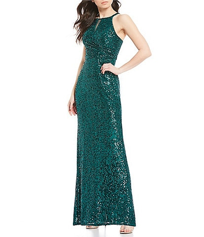 Morgan & Co. Spaghetti Strap Halter Neck Sequin Long Dress