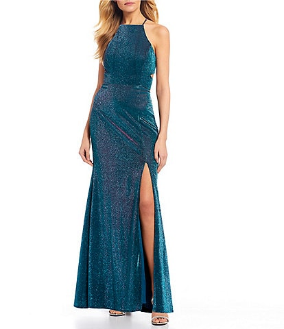 Morgan & Co. Spaghetti Strap Iridescent Lace-Up Back Side Slit Shimmer Long Dress