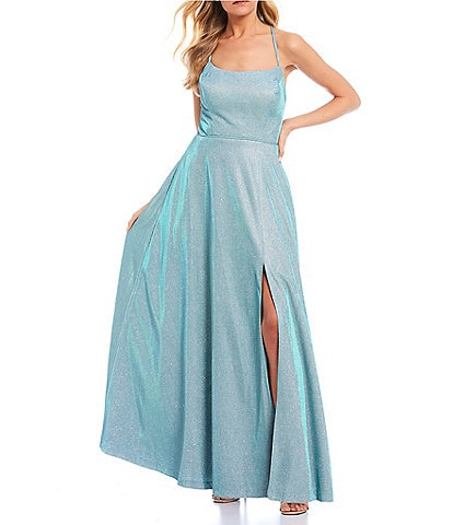 Morgan & Co. Spaghetti Strap Lace-Up Back High Side Slit Shimmer Shine Ball Gown