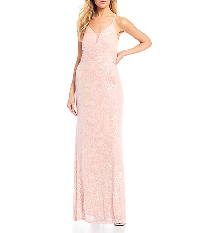 Morgan & Co. Spaghetti Strap Plunging V-Neck Sequin Long Dress