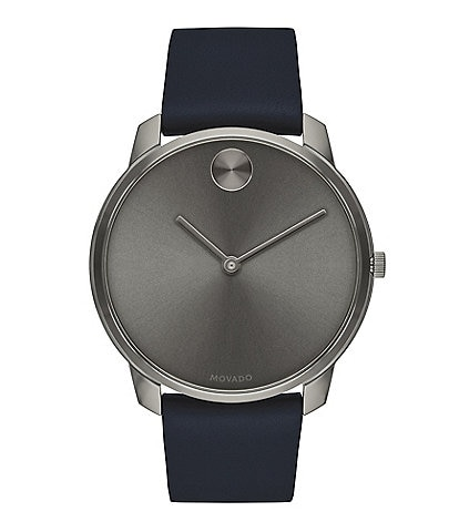 Movado Bold Blue Leather Strap Grey Dial Watch