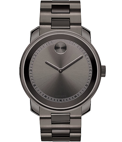 Movado Bold Men's Metals Gunmetal Grey Link Bracelet Watch