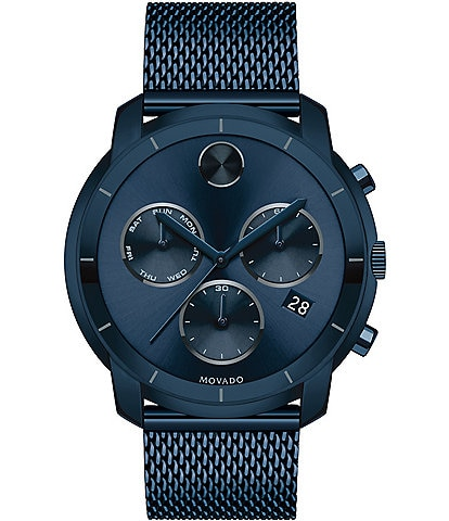 Movado Thin Ink Blue Mesh Link Bracelet Watch