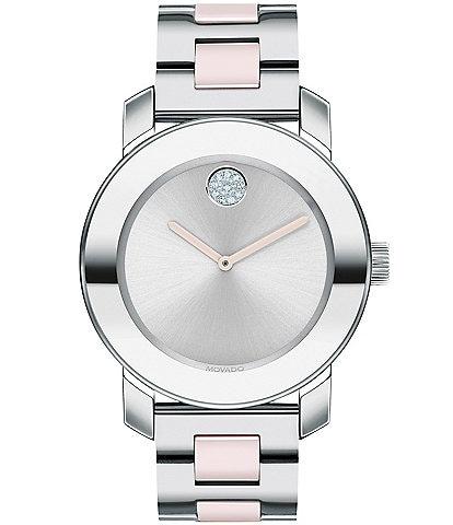 Movado Bold Ceramic Stainless Steel Bracelet Watch